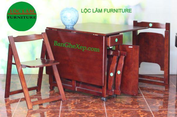 Bộ Bàn Ghế Gập Gấp Xếp Tokyo Chữ Nhật Lộc Lâm Furniture