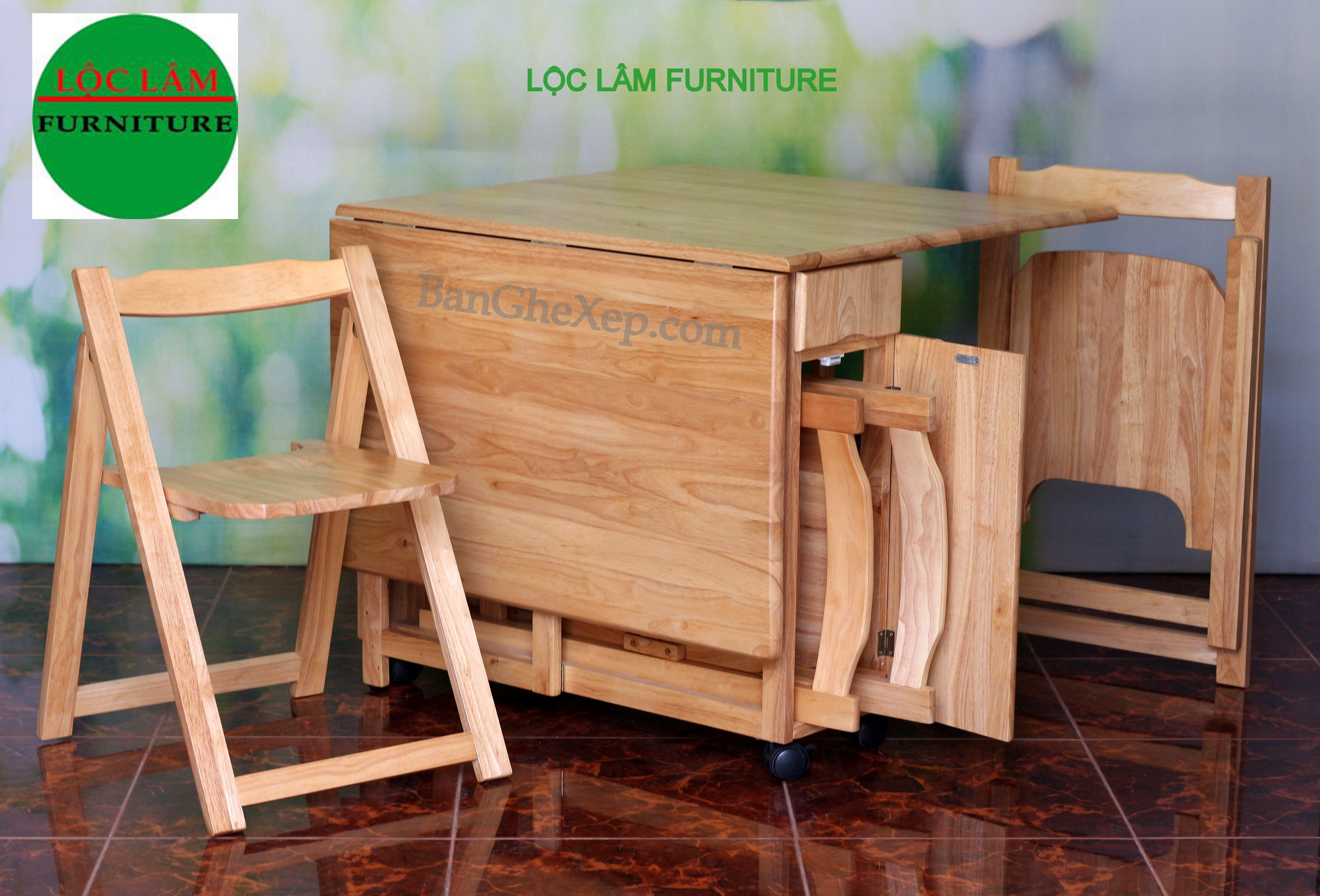 Bộ Bàn Ăn Gấp Xếp Tự Nhiên Chữ Nhật Lộc Lâm Furniture